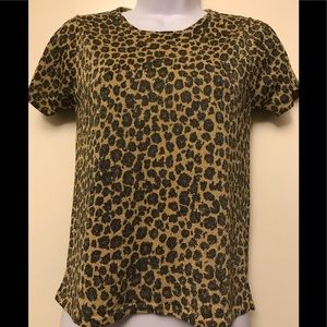 AUGUST SILK KNITS , animal print top , size S
